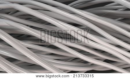 Twisted White Cables And Wires On Black Surface