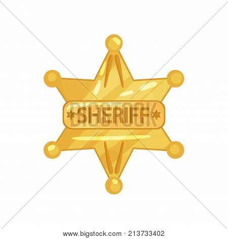 Illustration of sheriff s golden badge in star shape with inscription. Cop token. Shiny yellow police officer emblem. Cartoon vector icon in trendy flat style isolated on white background.