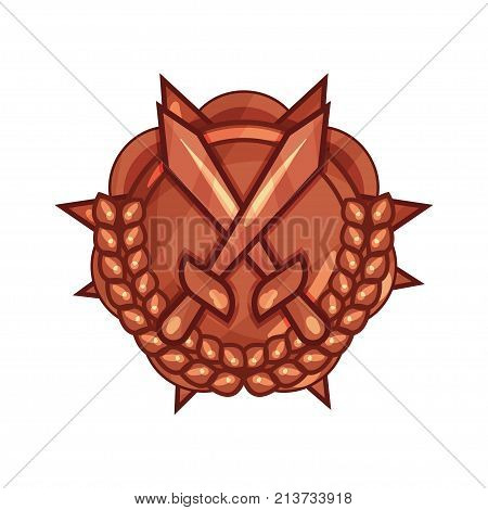 Bronze medal of military merit with crossed swords and laurel wreath. Award for bravery or valor. Symbol in circle shape, victory reward. Vector illustration in flat style isolated on white background