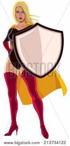 Illustration of superheroine holding big shield on white background.