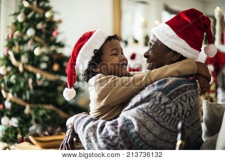 Father and son are enjoying Christmas holiday