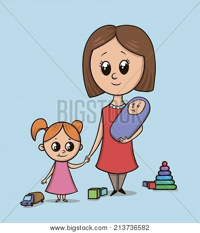 Woman with a girl and a baby on a playground among toys. Babysitter or mom with a toddler holds girl by the hand. Isolated vector illustration on blue background. Big eyes cartoon style characters.
