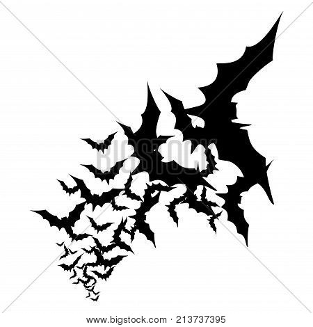 Vector Illutration A Flock Of Black Bats On A White Background