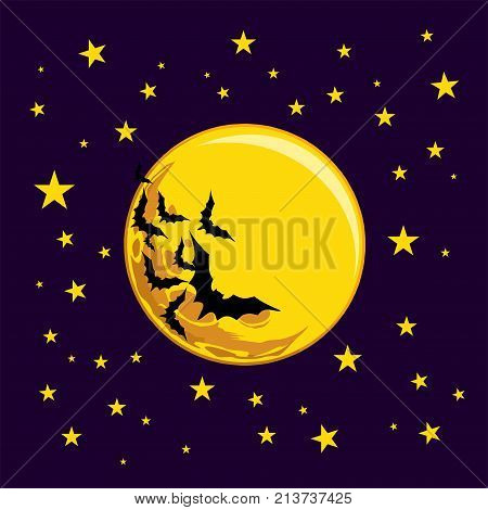 Vector, A Flying Flock Of Bats, A Yellow Big Moon In The Background, Yellow Stars