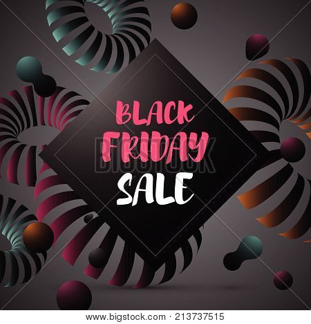Vector illustration abstract background with three dimensional donut shapes. Black Friday sale design template.