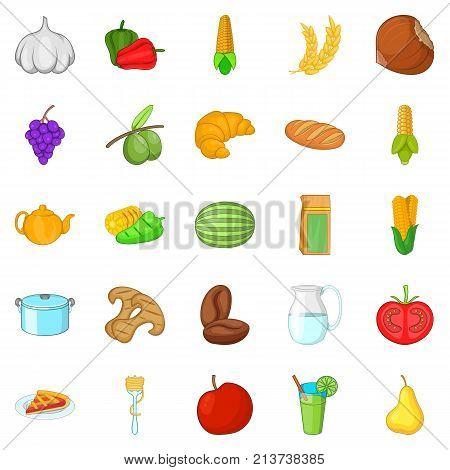 Vegan cuisine icons set. Cartoon set of 25 vegan cuisine vector icons for web isolated on white background