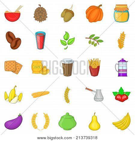 Nosh icons set. Cartoon set of 25 nosh vector icons for web isolated on white background