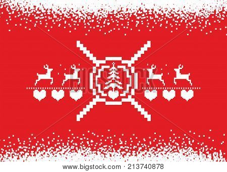 Xmas Vector Snow Theme, Pixel Crosshair On Christmas Tree And Elk, Heart, Snowflake