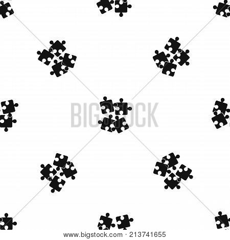 Jigsaw puzzles pattern repeat seamless in black color for any design. Vector geometric illustration