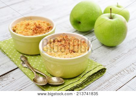 Apple Crumble In Small Baking Dish