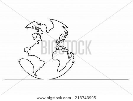 Globe icon in line art style. Planet Earth icon. Continuous line drawing. Single unbroken line drawing style. Vector