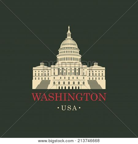 Vector travel banner. US National Capitol in Washington DC. American landmark. The Western facade of the Capitol