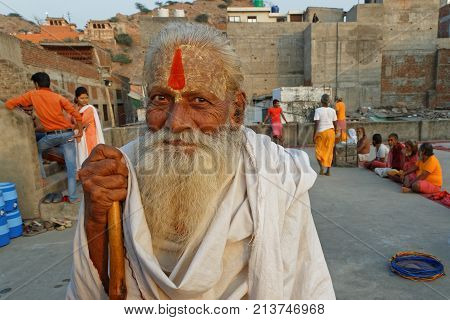 Jaipur, India, October 27, 2017 : Portrait Of Sadhus. A Sadhu Is A Religious Ascetic, Mendicant Or A