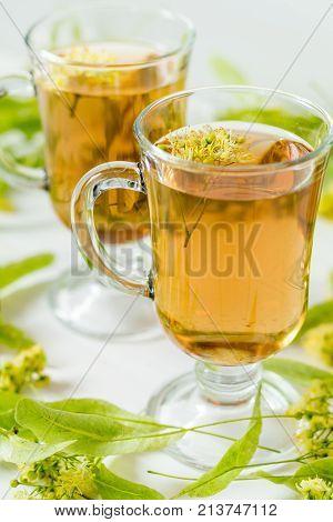 Linden Tea In Transparent Grog Glass