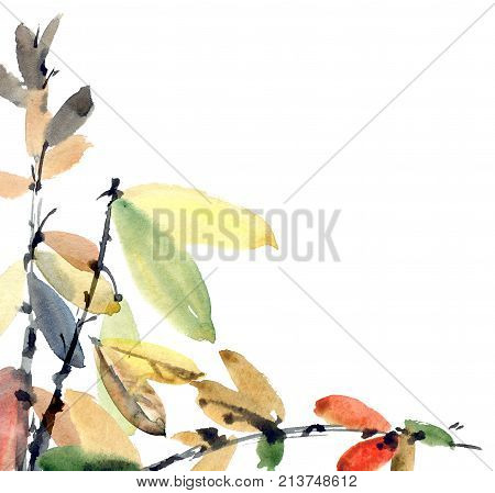 Watercolor and ink illustration of tree foliage. Oriental traditional paintind u-sin sumi-e. Artistic background for card invitation or cover.