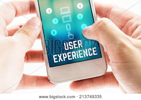 Two Hand Holding Mobile With User Experience And Icon On Blur Screen,online Digital Business Concept