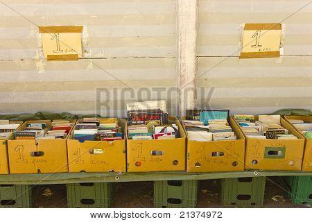 Second hand books at flea market