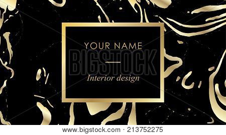 Elegant Black Luxury Business Cards With Marble Texture And Gold Detail Template, Banner With Golden