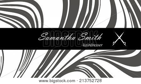 Creative Modern Hair Stylist Business Card, With Abstract Gray Marble Texture. Vector Design Concept