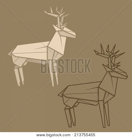 Set vector simple illustration paper origami and contour drawing of deer.