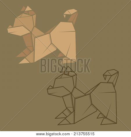 Set vector simple illustration paper origami and contour drawing of puppy.
