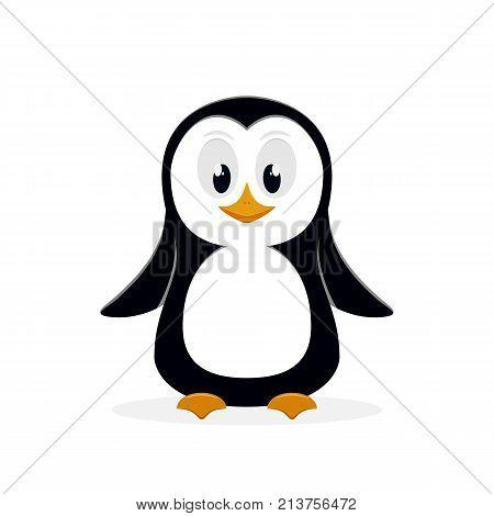 Little cute penguin isolated on white background, illustration.