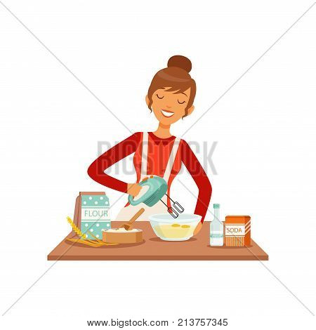 Young cheerful woman mixing dough with mixer, housewife girl cooking food in the kitchen flat vector Illustration on a white background
