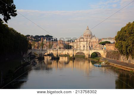 View at Tiber and St. Peter's cathedral in Rome Italy