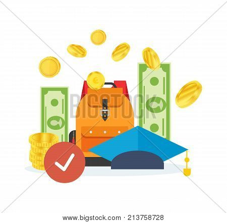 Education cost concept. Invest money in education, study cash, tuition fees, tax, pay, spending education money investment. Calculation, management. Vector illustration