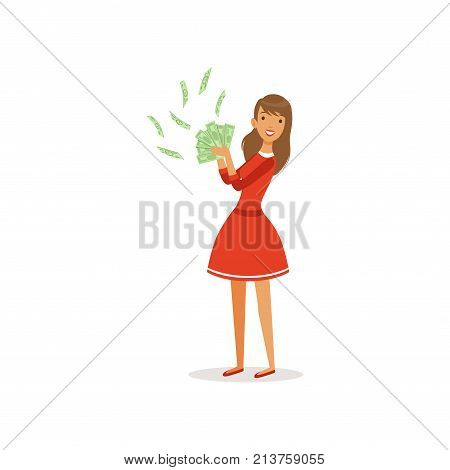 Beautiful happy young successful rich woman character in red dress holding green money bills, financial success colorful flat vector Illustration on a white background
