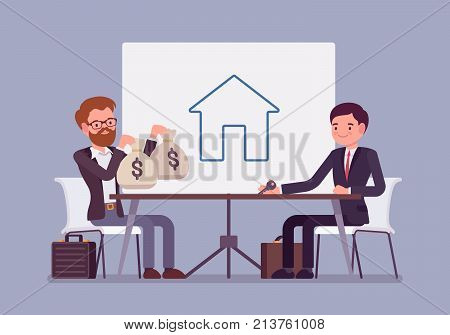 Real estate investment. Deal between men of purchase, ownership, management, rental or sale house for great profit. Vector flat style cartoon business concept illustration