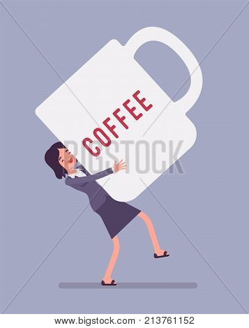 Woman carrying giant coffee mug. Enjoying a break from work for coffee, increasing the senses of euphoria and energy. Vector flat style cartoon business concept illustration