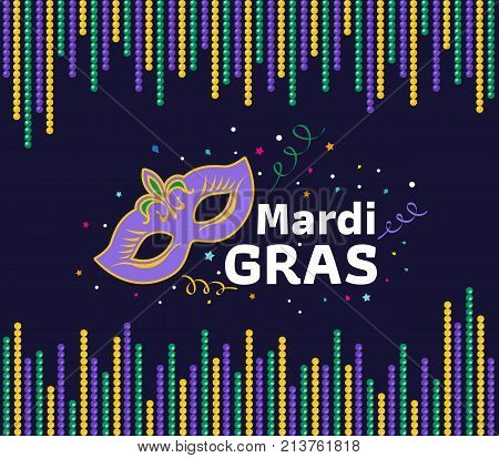 mardi gras festival card with mask sign and mardi gras text between green yellow purple bead frame vector design