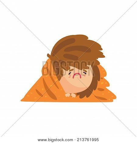 Unhappy sick girl having high temperature lying covered with a blanket, girl caught a flu cartoon character vector illustration isolated on a white background