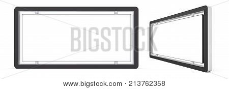 Set of outdoor white lightbox citylight advertising stands, isolated on white background. 3d illustration