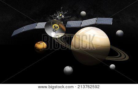 Satellite Orbiting Saturn. 3D Illustration, On Black Background