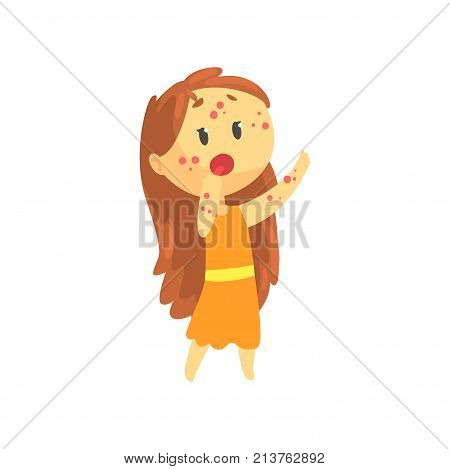Frightened girl with long hair with rash on her body, unwell teen needing medical help cartoon character vector illustration isolated on a white background