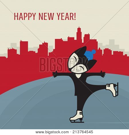 Little Fox training Ice figure skating with text Happy New Year vector illustration