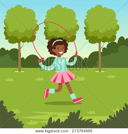 Cute smiling african girl jumping with skipping rope in the park, kids outdoor activity vector illustration, web banner