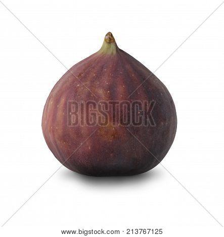Ripe sweet fig isolated at white background. Whole fresh organic fruit cutout