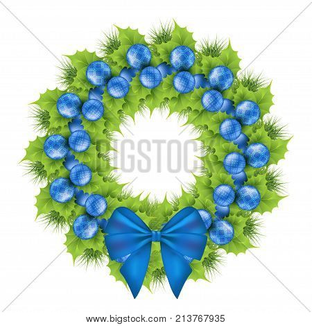 Christmas wreath of ilex leaves pine tree branches. Blue xmas decorations with floral motifs snowflakes and dots blue silk bow. Decorative border