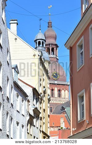 Latvia. Beautiful alley in the Old Town of Riga in a sunny summer day