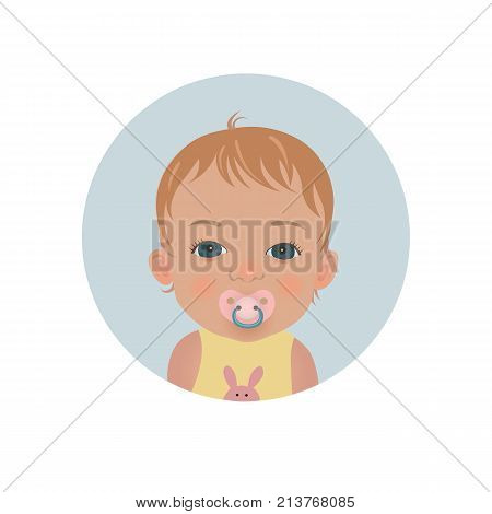 Cute baby with pacifier emoticon. Child with soother smiley. Toddler with dummy vector emoji.