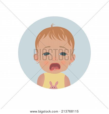Cute crying baby emoticon. Tearful child emoji. Weeping kid smiley vector icon.