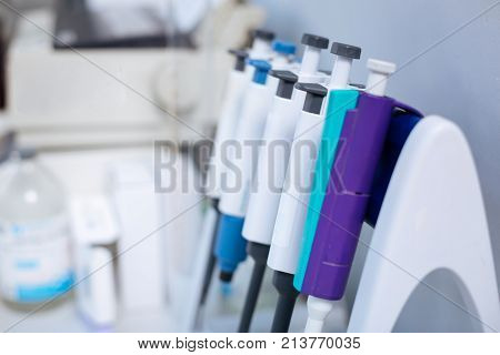 Health guard. Innovative medical equipment for analysis  is in row fastening to the stand which located in the laboratory