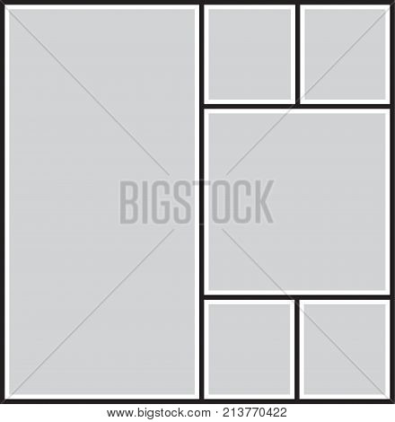Vector frame for photos and pictures, photo collage, photo puzzle black and white