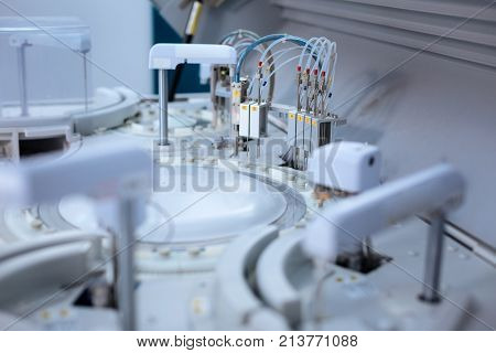 Laboratory miracle. Complicated sophisticated medical apparatus defining results for saving peoples life while located in the laboratory
