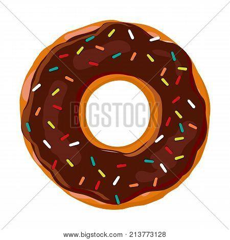 Sweet donut. Donut with chocolate glaze isolated on white background. Vector illustration.