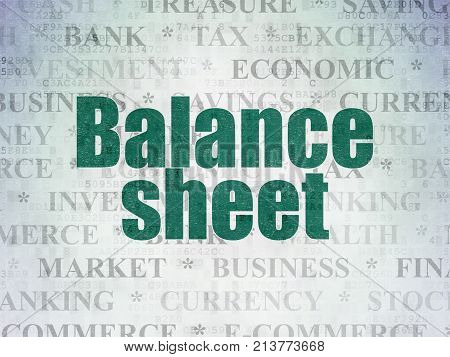 Currency concept: Painted green text Balance Sheet on Digital Data Paper background with   Tag Cloud