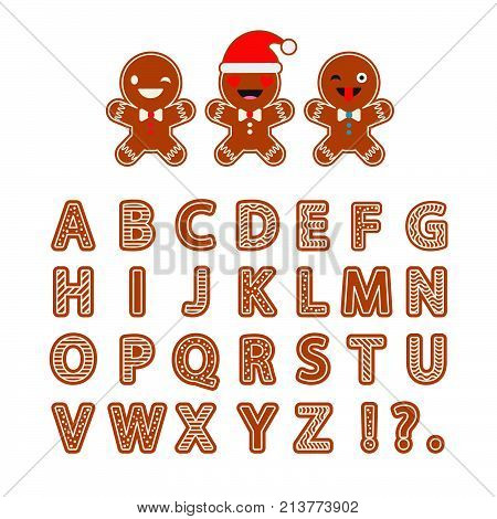 Set Gingerbread vector Alphabet. Christmas gingerbread letters with glaze. Cute cartoon Alphabet.